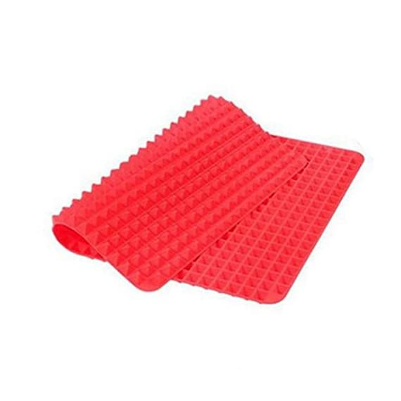 Non-Stick Silicone Baking Mat Heat-Resistant Pyramid Cooking Sheets Fat-reducing Cooking Mat 1 FOOD GRADE MATERIAL:Made of Eco-Friendly food-grade silicone. BPA-free, odorless, nontoxic, Non-stick. Temperature tolerance:-40℃ to 230℃(-40℉to 446℉) PERFECT KITCHEN MAT FOR HEALTHY COOKING: Allows food to cook evenly, bakes food light and crispy. EASY TO CLEAN, CONVENIENT TO USE:If you got tied of scrubing baking pans racks, please use this baking mat to make your life easier.Safe to use in dishwasher,Cleans Up Easy with just a little Soap and Water