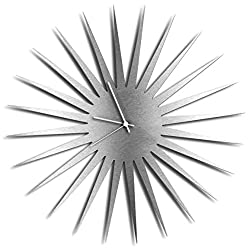 Modern Wall Clock 'MCM Starburst Clock Silver White' Mid-Century Home/Kitchen Decor - Minimalist, Silent Sweep Hands