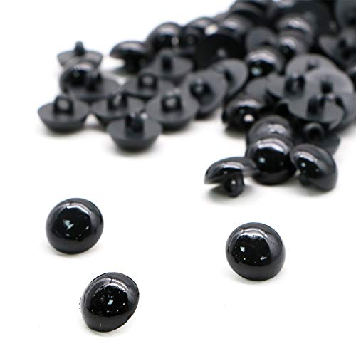 JETEHO 100PCS Mushroom Beads Black Plastic Eyes for DIY Sewing Crafting Buttons for Puppet Bear Doll Animal Stuffed Toys (15mm) ()