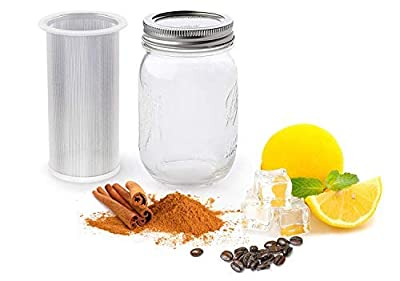 NOFDA Cold Brew Coffee Tea Filter Mesh Maker with Sealing Ring Reusable Coffee Filter- Our Cold Brew Mason Jar Filter Fits All Wide Mouth Mason Jars.