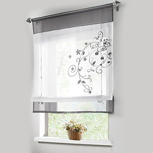 Lariy 1pcs Sheer Roman Curtains Liftable Embroidered Windows Curtain Organza Panel (White Bathroom Window Curtains compare prices)