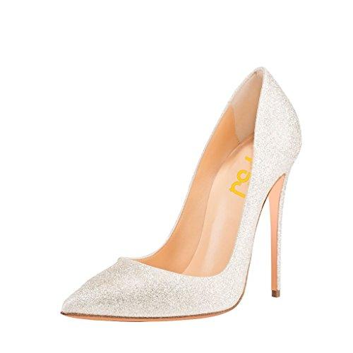 Fsj Donne Classiche Tacchi A Spillo Stiletti Scarpe A Punta Scarpe Da Sposa Con Glitter Taglia 4-15 Us Bianco