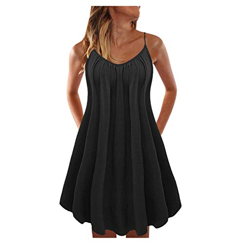 Women's Dresses, Light and Breathable Sexy Fashion Multicolor Sexy Dress Beach Skirts(Black,13_S