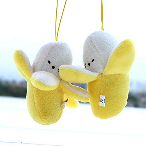 Cute Charm Mobile Phone Skinned Banana Plush Doll Pendant Cellphone Decoration Lanyard Mobile Car Key Ring Accessories