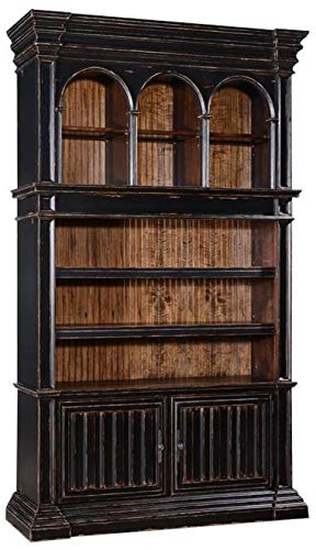 EuroLuxHome Bookcase Cathedral Antiqued Blackwash Wood Old World Moldings Bead Board