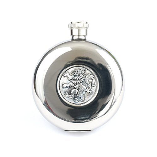 KWH 5oz Round Pocket Hip Flask with Polished Finish Scottish Lion Rampant Detail with TOT - Polished Flask