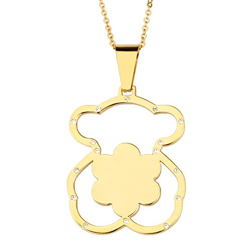 Stainless Steel Bear (URs 18K Gold Plated Stainless Steel Women's Teddy Bear Necklace Pendant & Stud Earrings with Rhinestones)