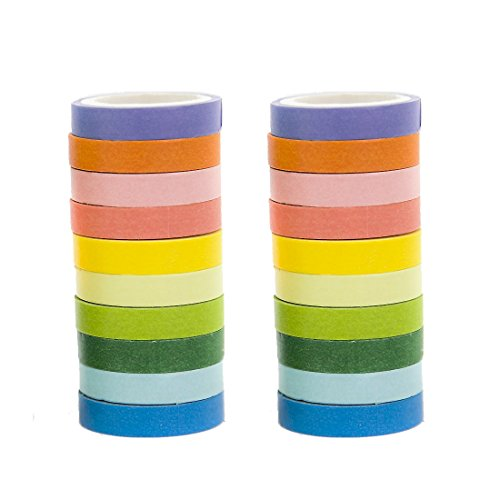 (20 Rolls DIY Washi Tape , solid color wrapping tape Decorative Craft Tape Washi Rainbow Candy Color Washi Sticky Paper Masking Adhesive Tape Scrapbooking and Office Party Decoration)
