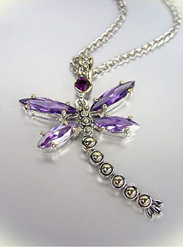 Designer Chunky Purple Amethyst Cz Crystals Balinese Dragonfly Pendant Necklace For Women