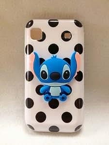3D Blue Stitch & Lilo Polka Dot TPU Color Gel Silicone Rubber Skin Case Cover for Samsung Galaxy S i9000 /T959 Vibrant(T-Mobile) i9000 i9001