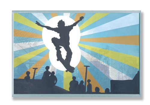 The Kids Room by Stupell Skateboarder Sillouhette Rectangle Wall Plaque