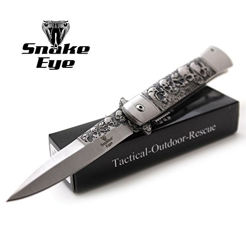 (Snake Eye Tactical Titanium Coated Handle Assisted Open Folding Drop Point Blade Pocket Knife Self Defense Everyday Carry (Silver))