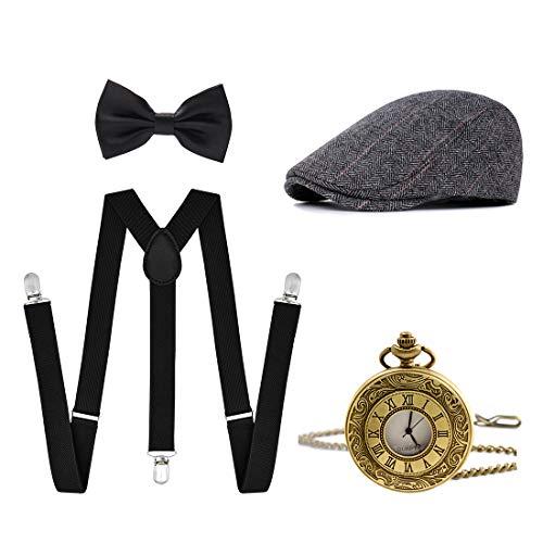 Ziyoot Men's 1920s Accessories Gatsby Gangster Costume Set Gangster Beret Y-Back Suspender -