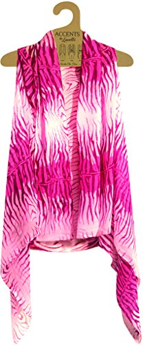 Accents by Lavello Sheer Designer Vest, Light Pink/Pink Zebra Print