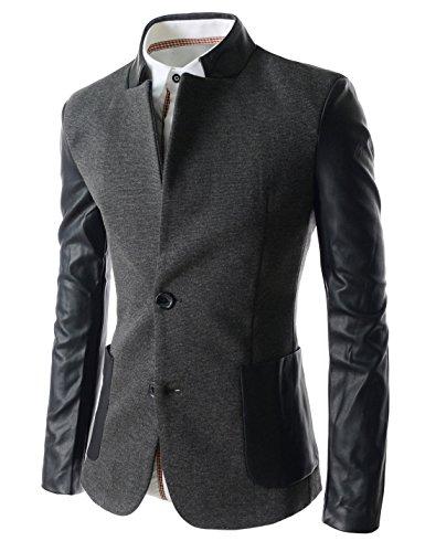Mens 2 Button Leather Blazer - 8