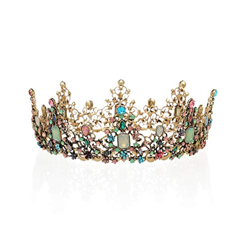 SWEETV Jeweled Baroque Queen Crown – Rhinestone Wedding Crowns and Tiaras for Women, Costume Party Hair Accessories with Gemstones