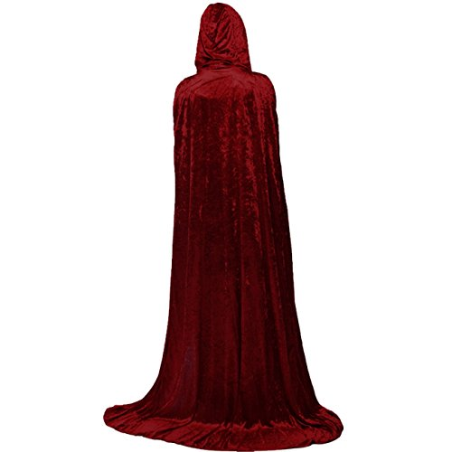 Gameyly Unisex Death Hooded Cape Halloween Velevt Full Length Cloak Cosplay Costumes Burgundy