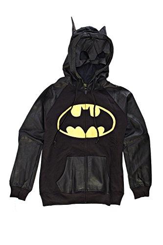DC Comics Batman Half Mask Juniors Zip-Up Hoodie Sweatshirt | M