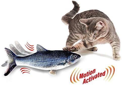Ontel Flippity Fish Cat Toy, flops y menea como un pez real, incluye caña de pescar y catnip 4