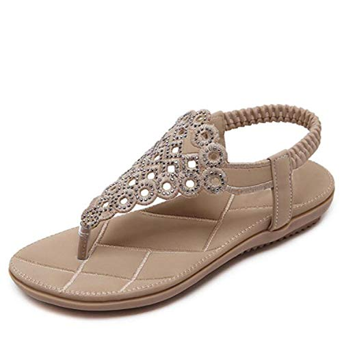 MoMo Gladiator Sandals Women Blossom Bohemian Flat Sands Large Size Beach Shoes Women Sandals,Beige,9 (Strappy Low Heel Sandal With Crystals By Blossom)