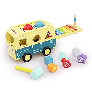 LEO & FRIENDS Multifunctional Wooden School Bus with Pounding Bench, Baby Xylophone,Shape Sorter Toys for Toddlers,Early Educational Toys for Boys, Montessori Musical Toys for 2 - 6 Years Old