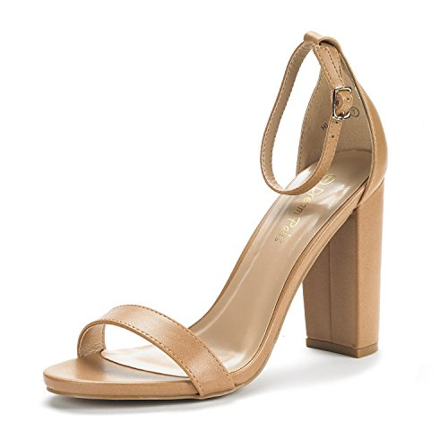 DREAM PAIRS Women's Hi-Chunk Nude Pu High Heel Pump Sandals - 10 M -