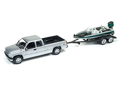 """2002 Chevrolet Silverado Pickup Truck Silver with Boat and Trailer """"Gone Fishing"""" 1/64 by Johnny Lightning JLBT001A-2002CHEVY-SILVER"""