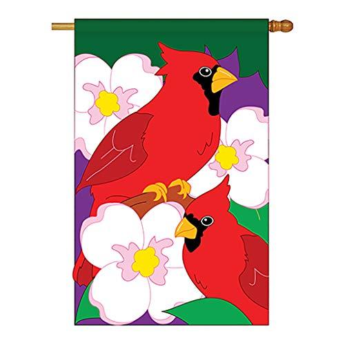 Two Group - Twin Cardinals Garden Friends - Everyday Birds Applique Decorative Vertical House Flag 28