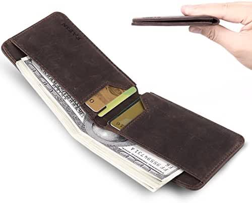 Front Pocket Wallets for Men RFID Blocking Slim Bifold Leather Minimalist Card Case Pabin