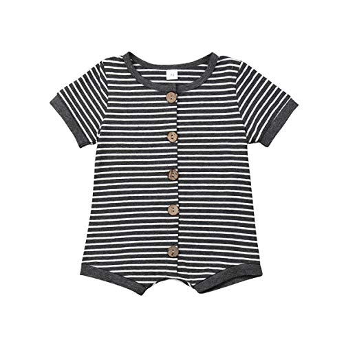 Grey Hooded Sweat Top - Newborn Kids Baby Boys Cute Solid Color Long Sleeve Hooded Romper Jumpsuit Top Outfits Clothes (0-6 Months, Stripe-Short Sleeve)