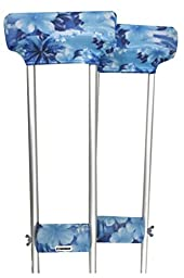 Crutcheze Blue Hibiscus Underarm Crutch Pad and Hand Grip Covers with Comfortable Padding, Designer Fashion Orthopedic Products Accessories
