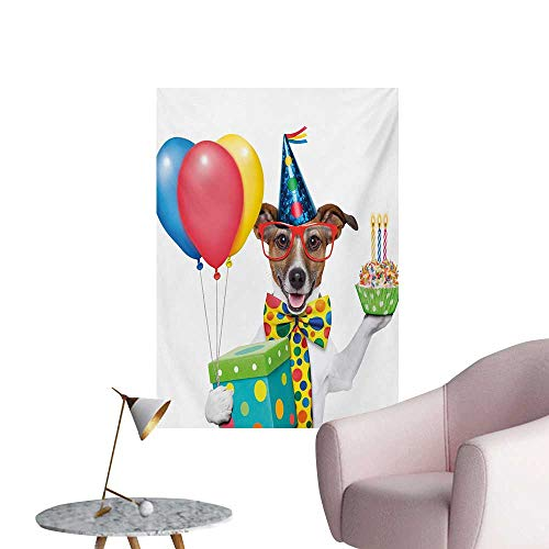 Anzhutwelve Kids Birthday Art Decor Decals Stickers Waiter Server Party Dog with Hat Cone Cupcake Balloons Celebration BoxesMulticolor W32 xL36 Cool Poster