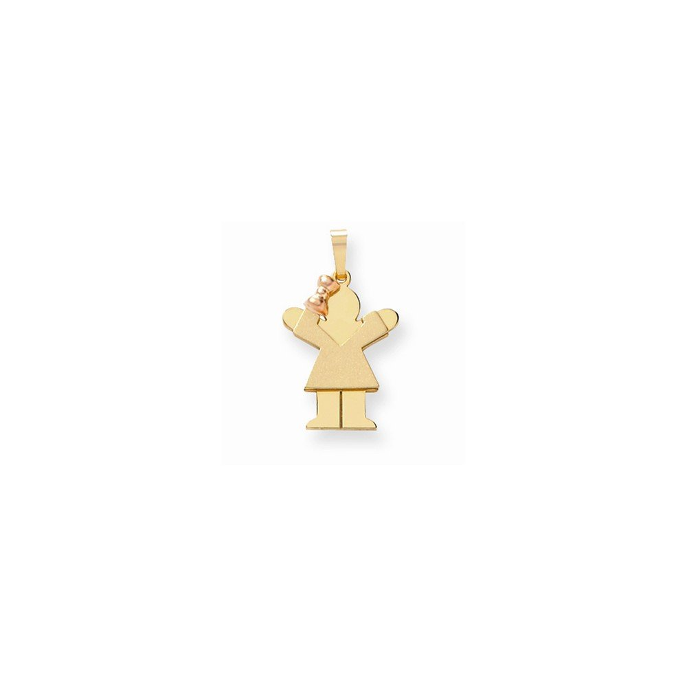 14k Two-Tone Small Girl on Left Engravable Charm