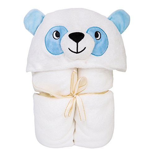 Cute Panda Hooded Baby Towel | Silky Soft | Double Layer | 100% Bamboo | Infants, Kids, Children, Toddlers | 35x30