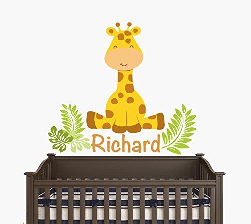 Giraffe Sitting (Custom Name - Sitting Giraffe With Leaves - Baby Boy / Girl - Wall Decal Nursery For Home Bedroom Children (JR) (24