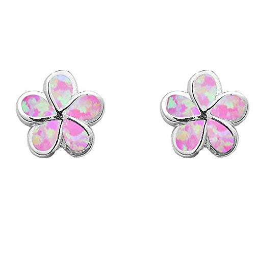 - Lab Created Opal Plumeria .925 Sterling Silver Earrings COLORS AVAILABLE (Lab Created Pink Opal)