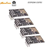 MakerFocus 4pcs ESP8266 ESP-01 Serial Wireless WiFi Transceiver Receiver Module 1MB SPI Flash DC3.0-3.6V Internet of Things WiFi Module Board Compatible with Arduino: more info