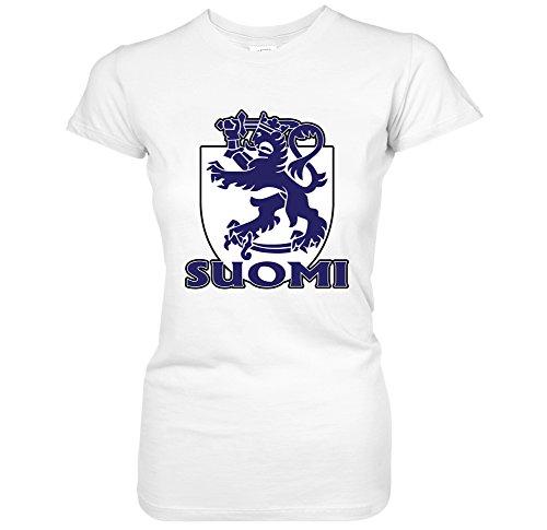Suomi -Finnish Heraldic Lion Coat Of Arms Crest Finland Pride Juniors T-Shirt (XL White) (Coat Arms Finnish Of)
