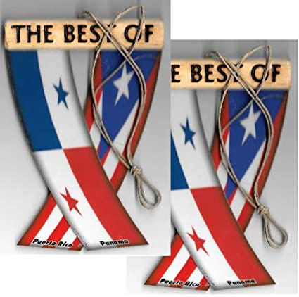 UNITY FLAGZ Puerto RICO and Panama Boricua Panamanian Caribbean South American Rear View Mirror Hanging CAR Flags Mini Banners for Inside The CAR
