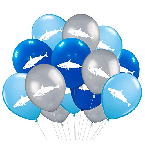 Shark Party Supplies Latex Balloons - Under the Sea/Pool/Beach/Kids Birthday Decorations(36 -