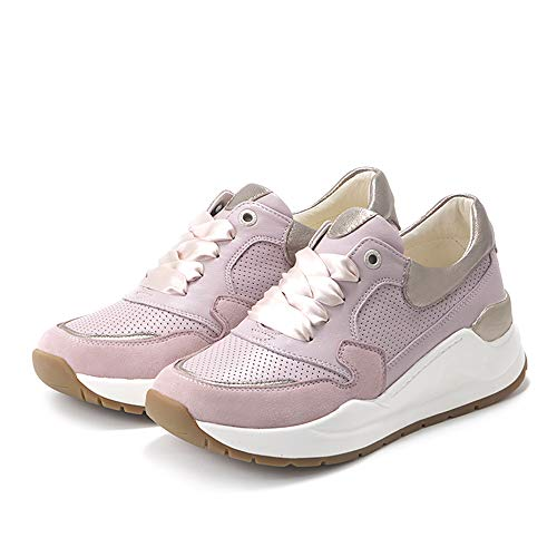 Bussola Women Josie Chunky Sneakers, Jacey Soft Sporty Shoes, Breathable Leather with 2 Different Laces, Easy for Walking (Lilac/White Gold) EU37/US 6.5