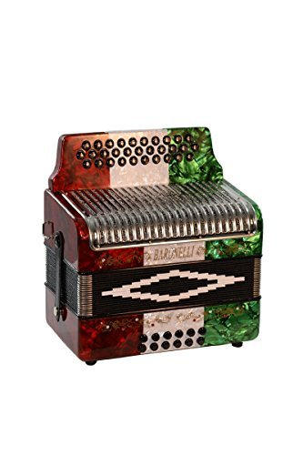 Full Size 31 Button Red/White/Green Diatonic Accordion Key of SOL G,C,F, with Hardshell Case, Back Straps, Stainless Steel Grill & DirectlyCheap(TM) Translucen Blue Pick