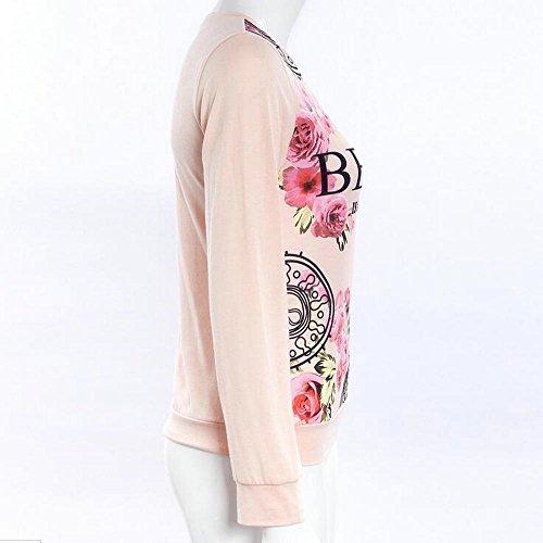 Las mujeres floral camiseta impresa de la camiseta de manga larga de la caída ocasional Top Rosado