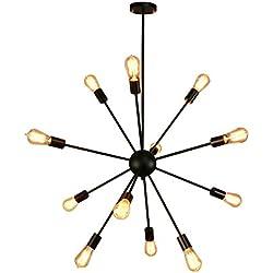 Sputnik Chandelier,Naturous 12 Lights Pendant Lighting,Painted Black Modern Sputnik Light, Vintage Ceiling Light Fixture, UL Listed