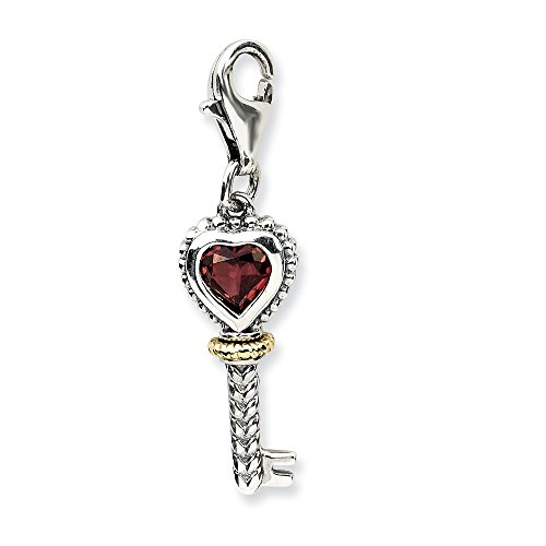 Best Birthday Gift Sterling Silver w/14k Garnet Antiqued Key w/Lobster Clasp Charm