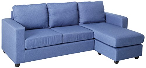 NHI Express 73022-40BL Alexandra Convertible Sectional, Blue (Size Apartment Sectional)