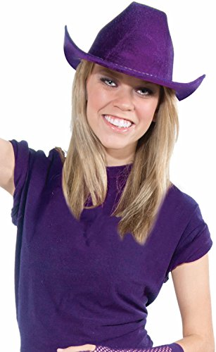 Deluxe Cowboy Hat Team Spirit Adult Unisex, Purple, School Team Colors Fan Gear