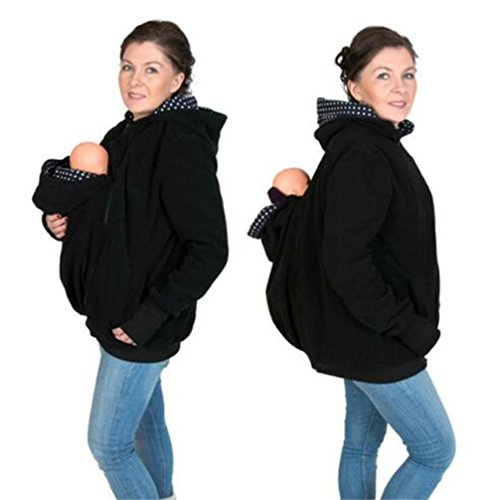 Costumes For Babies In Carriers (Qichuhua 3in1 Maternity Sweatshirt Hoodie for Baby Carriers Charcoal Black)