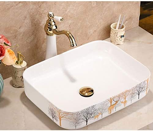 Minmin バスルームの洗面小さなアパートのホームセンター現代のミニマリストのセラミック舞台美術彫刻浴室の洗面台のバルコニー洗濯プールのバスルーム洗面500x400x135mm 芸術流域 (Size : 500x400x135mm)