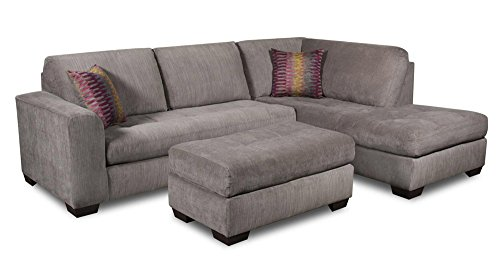 Chelsea Home Furniture Almeda 2-Piece Sectional, Heather Seal/Mood Plum Pillows